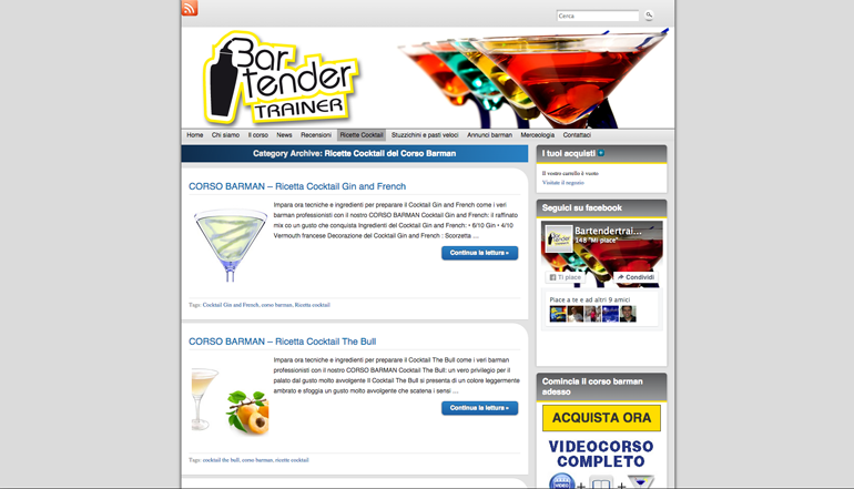 sito web bartendertrainer - ricette cocktail