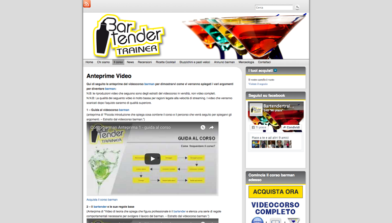 sito web bartendertrainer - video